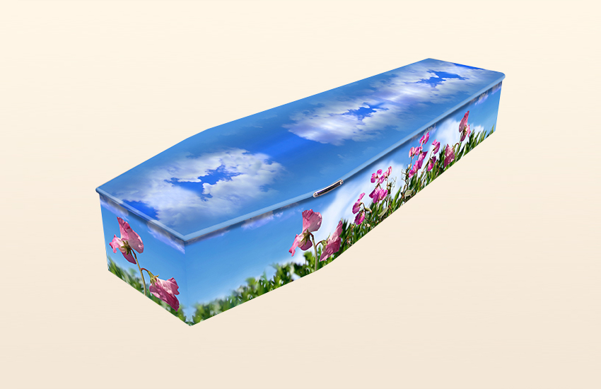 Sweetpeas Pattern Colourful Coffins by Carl Hogg Funerals Golborne