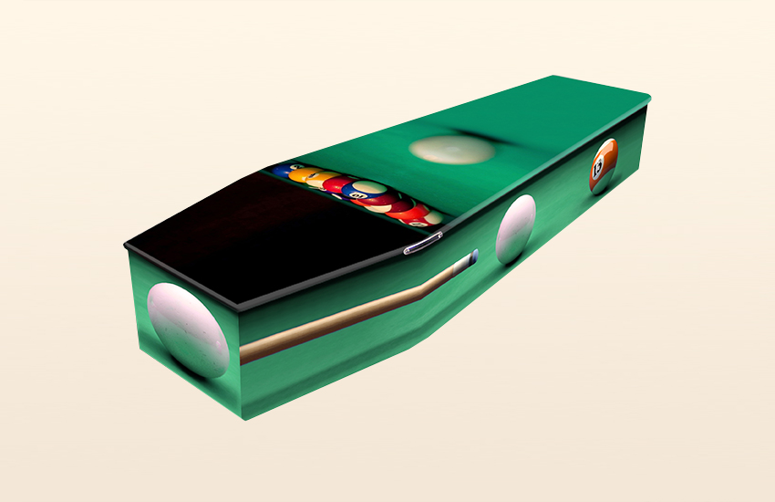 Pool Table Pattern Colourful Coffins by Carl Hogg Funerals Golborne