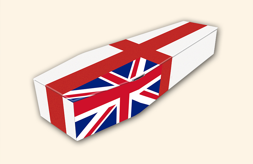 England and Union Flag Pattern Colourful Coffins by Carl Hogg Funerals Golborne