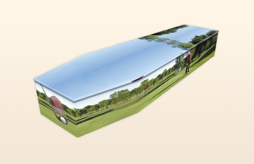 Golf Pattern Colourful Coffins by Carl Hogg Funerals Golborne