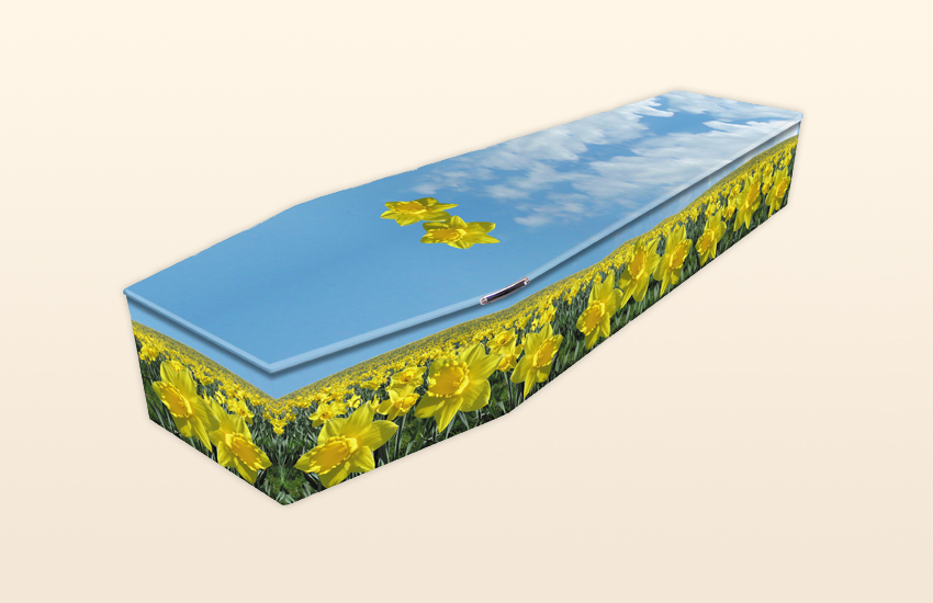 Field of Daffodils Pattern Colourful Coffins by Carl Hogg Funerals Golborne