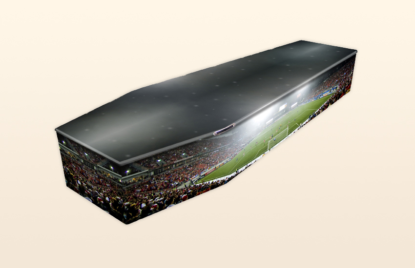 Football Stadium Pattern Colourful Coffins by Carl Hogg Funerals Golborne