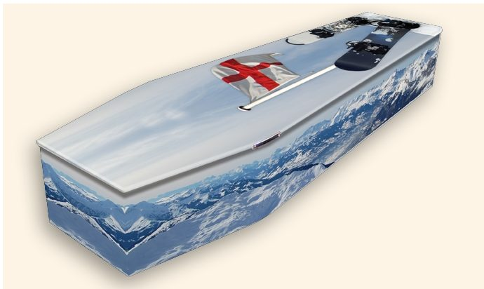 The Snowboarder Pattern Colourful Coffins by Carl Hogg Funerals Golborne