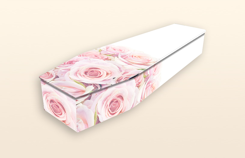 Blushing Rose Pattern Colourful Coffins by Carl Hogg Funerals Golborne