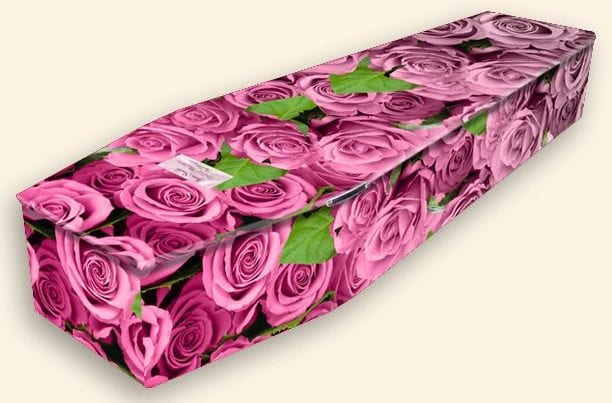 Bed of Roses Pattern Colourful Coffins by Carl Hogg Funerals Golborne