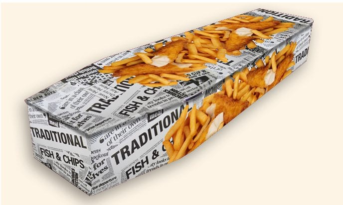 Fish and Chips Pattern Colourful Coffins by Carl Hogg Funerals Golborne