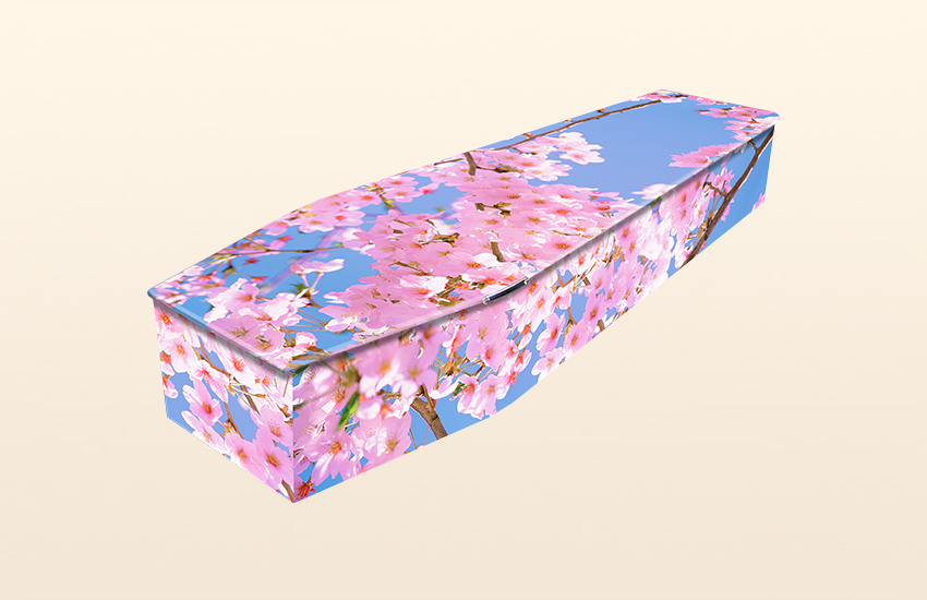 Pink Blossom Pattern Colourful Coffins by Carl Hogg Funerals Golborne
