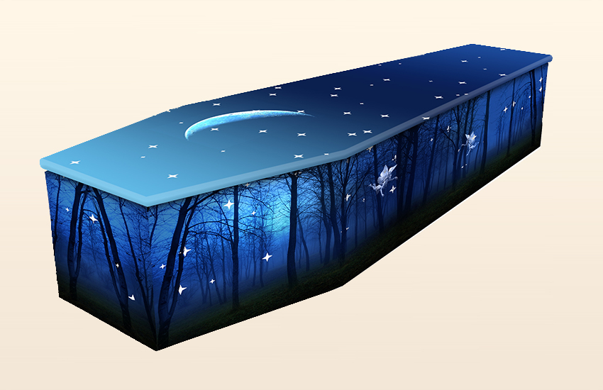 Moonlight Forest Cardboard Pattern Colourful Coffins by Carl Hogg Funerals Golborne
