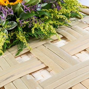 Bamboo Lattice Traditional Detail - Square Wicker Coffins by Carl Hogg Funerals Golborne