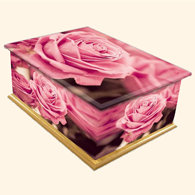English Rose Pattern Colourful Caskets by Carl Hogg Funerals Golborne