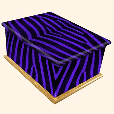 Funky Zebra Pattern Colourful Caskets by Carl Hogg Funerals Golborne