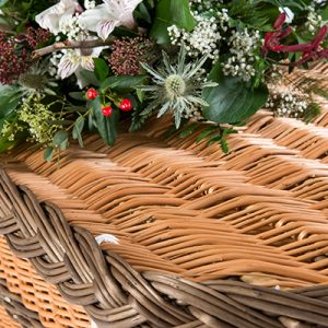 English Willow Brown Lid - Square Wicker Coffins by Carl Hogg Funerals Golborne