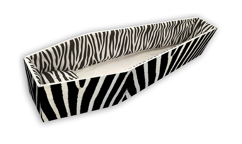 Zebra Colourful Coffins Interior Pattern by Carl Hogg Funerals Golborne