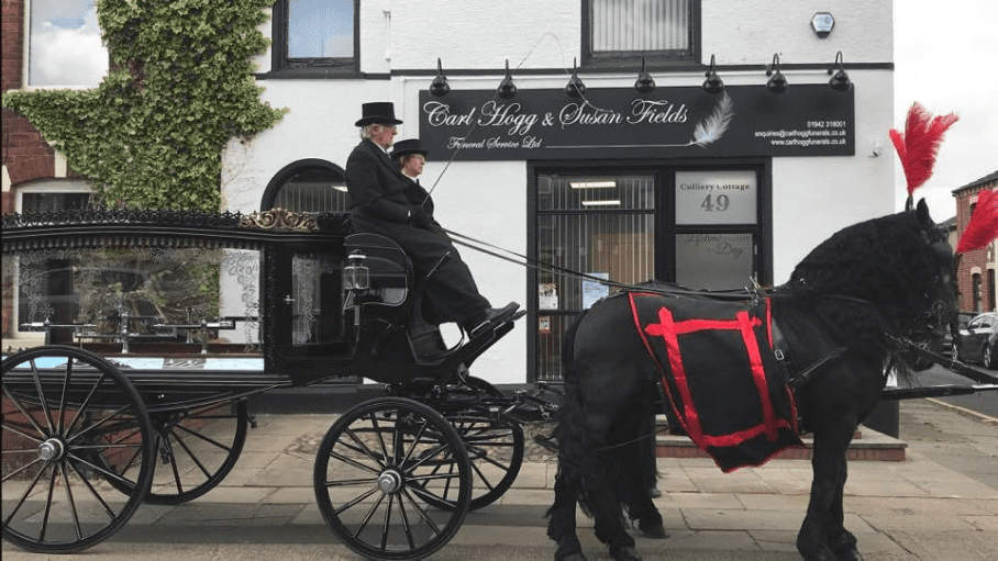 Bespoke and beautiful horsedrawn funeral services by Carl Hogg Funeral Services Golborne